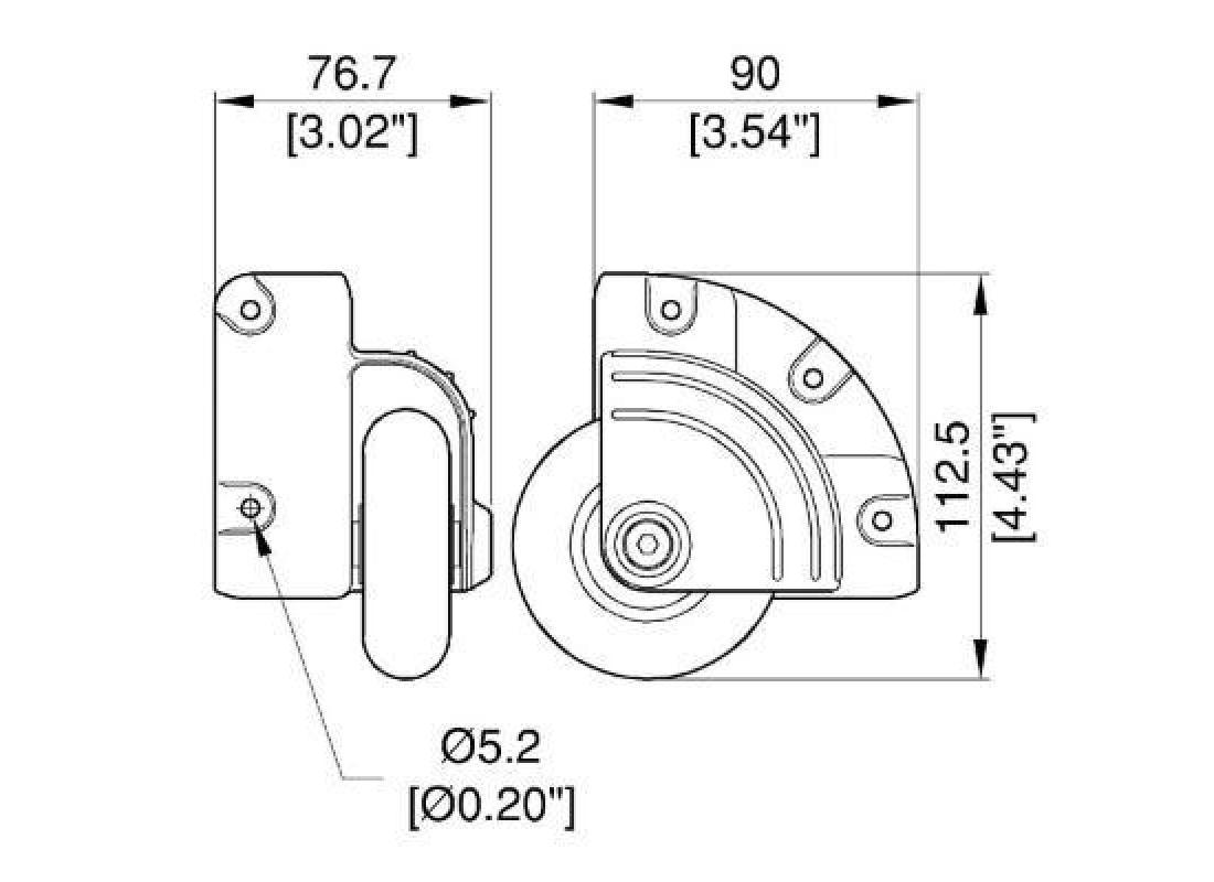 75 mm Einbau-Eckrolle