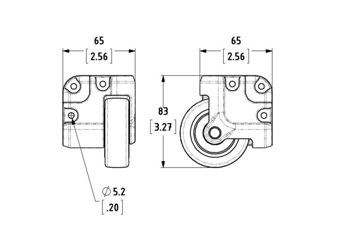 N-Case 2, Einbau-Eckrolle, 65 mm